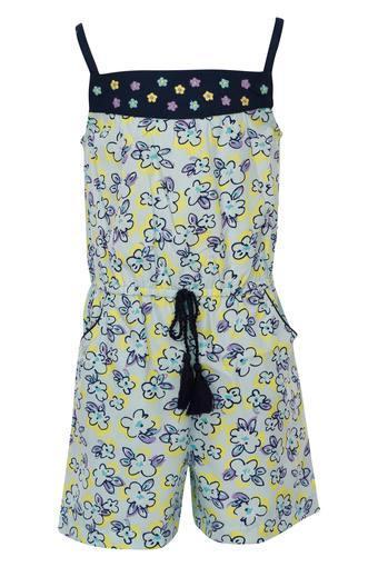 Girls Square Neck Floral Print Jumpsuit