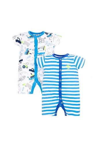 Boys Round Neck Printed and Striped Rompers - Pack Of 2