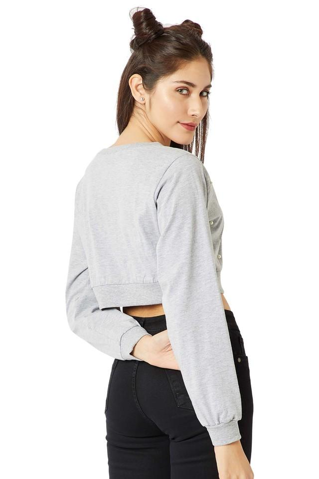 Womens Round Neck Slub Crop Top