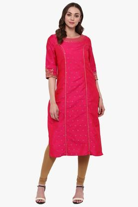 JUNIPER Womens Embroidered Festive Kurta With Piping Detailing & Lining