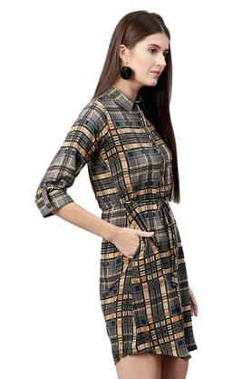 Womens Checked Casual Short Dress