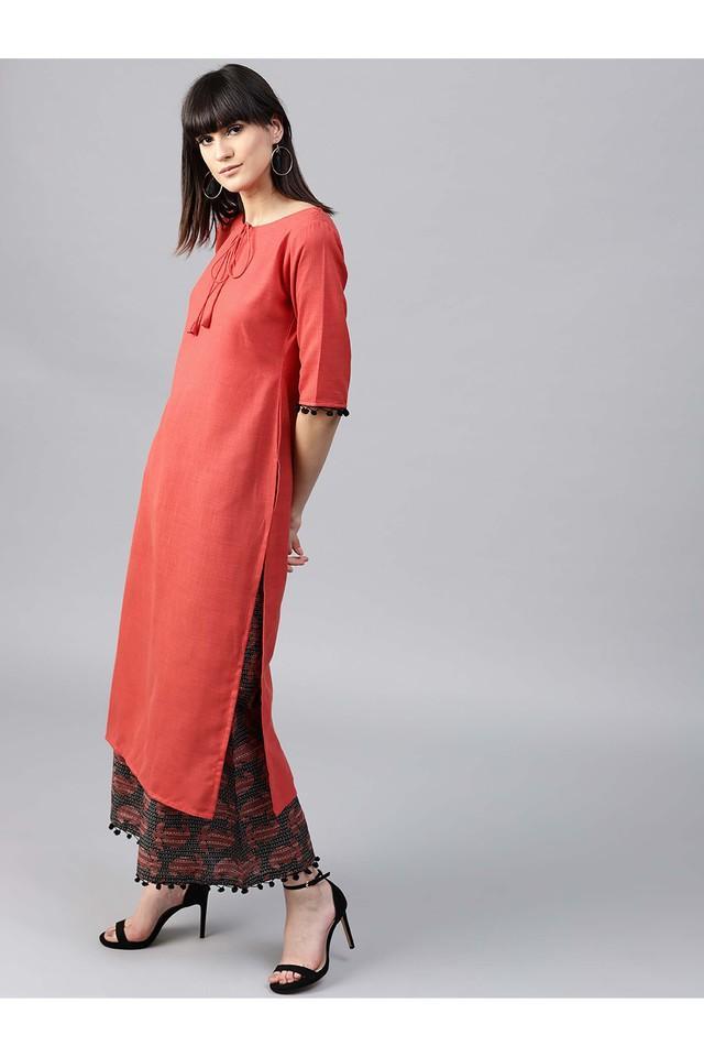 Women Cotton Solid Straight Kurta With Cotton Printed Palazzo