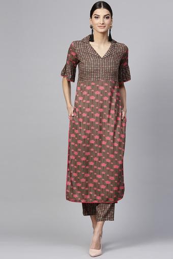 Womens Notched Lapel Printed Kurta and Pants Set