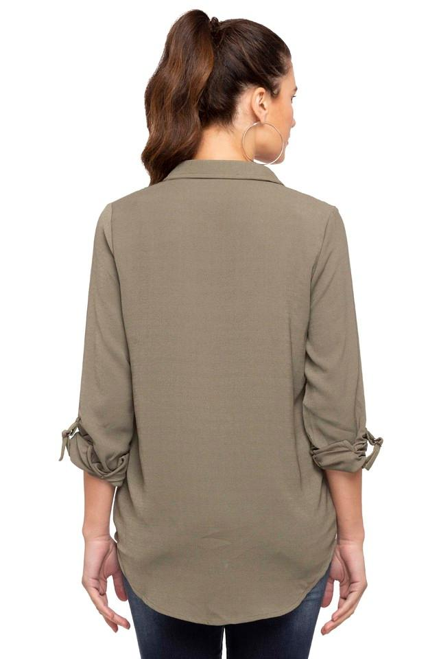 Womens Collared Double Pocket Solid Shirt
