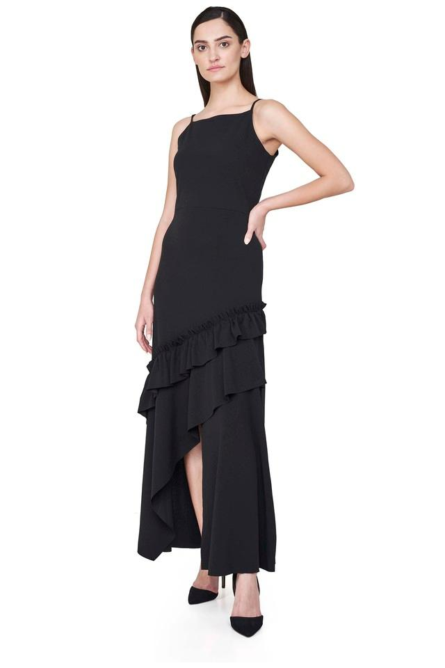 Womens Spaghetti Neck Solid Layered Dress