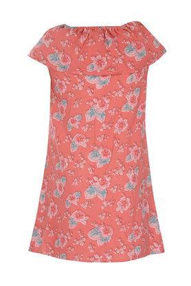 Girls Square Neck Floral Print A-Line Dress