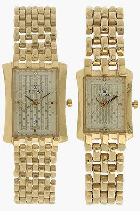 TITANUnisex Champagne Dial Stainless Steel Watch - NJ19272927YM02