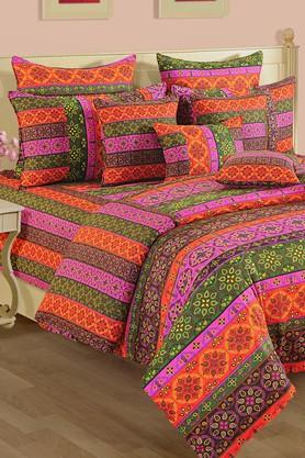 Printed Double Fitted Bed Sheet with 2 Pillow Covers