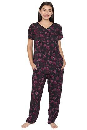 CLOVIA Maternity V- Neck Floral Print Top And Pyjamas Set
