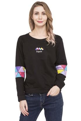 LIFEWomens Round Neck Solid Sweatshirt