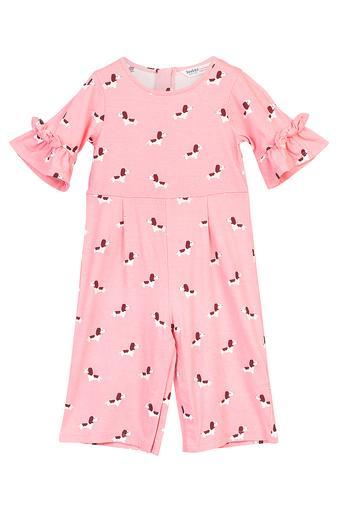 Girls Round Neck Dog Printed Jumpsuit