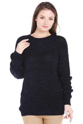 109F Womens Round Neck Shimmer Sweater