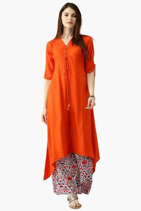 LIBAS Womens Solid A-Line Kurta With Printed Palazzo