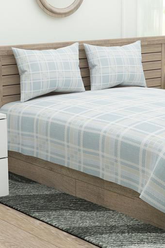 Four Seasons Checked Double Bed Sheet with 2 Pillow Covers
