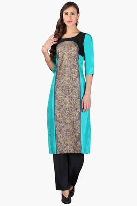 AURELIA Womens Round Neck Colour Block Printed Kurta