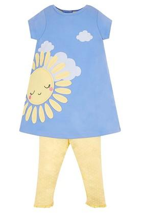 Girls Round Neck Applique Top and Pants