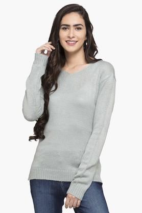 FEMINA FLAUNTWomens V Neck Slub Sweater