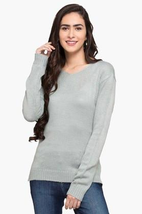 FEMINA FLAUNTWomens Round Neck Slub Sweater