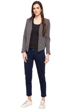 Womens Open Front Solid Blazer