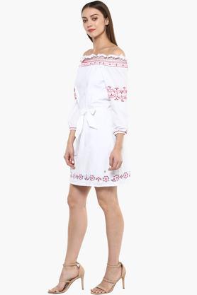 Womens Off Shoulder Neck Printed Shift Dress