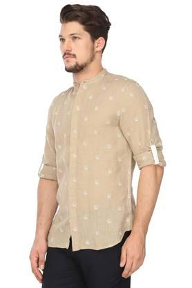 Mens Mao Collar Printed Shirt
