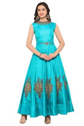 VRITIKA Womens Banglori Silk Semi-stitched Gown
