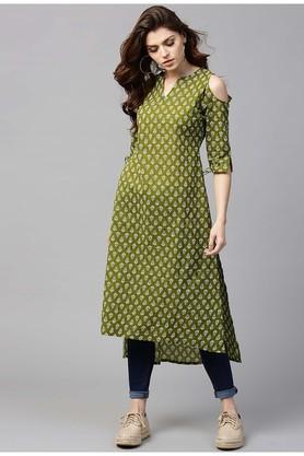 Women Cotton Printed Aline High Low Kurta