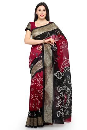 8315247156b X ISHIN Womens Printed Saree with Blouse Piece. ISHIN. Womens Printed Saree  with Blouse Piece .