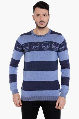 JACK AND JONESMens Round Neck Slim Fit Stripe Sweatshirt