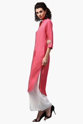 LIBASWomens Mandarin Neck Solid Straight Fit Kurta - 203367605