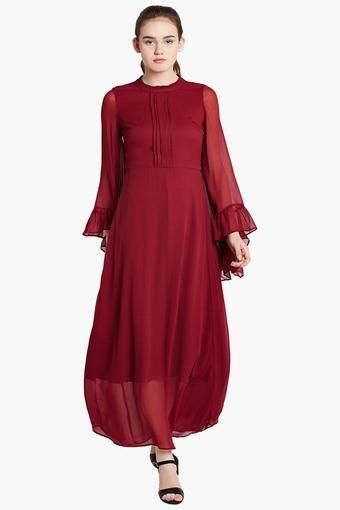 f19bb34bc5 Buy COVER STORY Womens Band Collar Solid Maxi Dress | Shoppers Stop