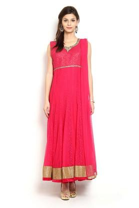 SOCH Womens Round Neck Lace Sequin Anarkali Suit