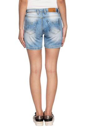 Womens 4 Pocket Distressed Shorts