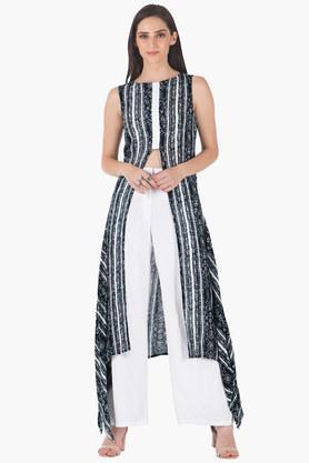 INDYAWomens Round Neck Printed Regular Fit Kurta - 203316654