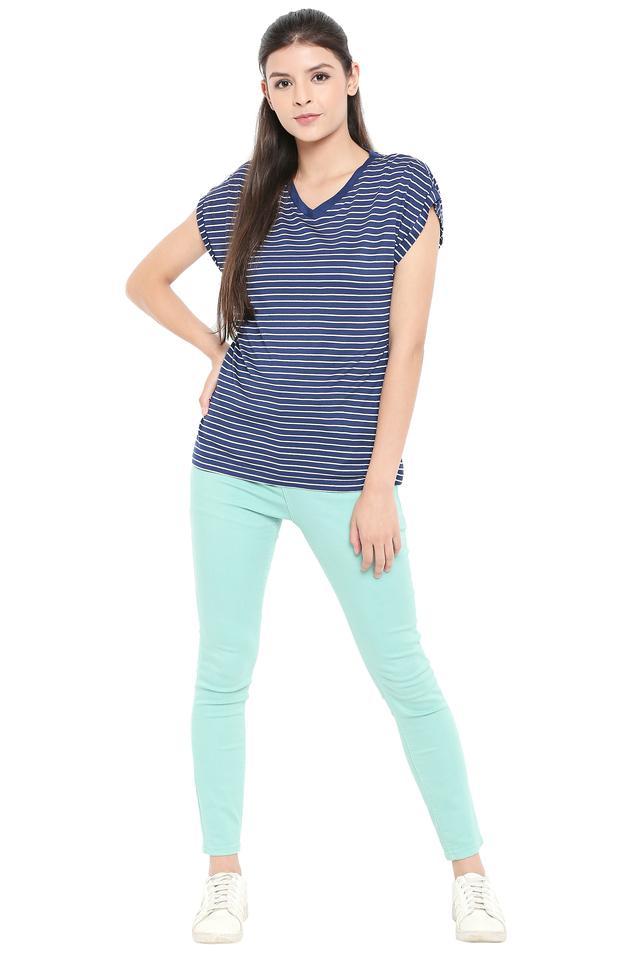 Womens V Neck Striped T-Shirt