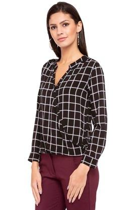 Womens Mandarin Neck Checked Top