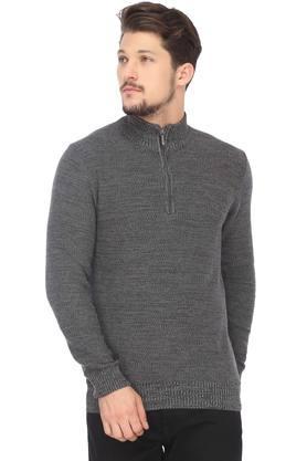 IZODMens Zip Through Neck Knitted Pattern Sweater