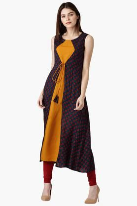 LIBAS Womens Rayon Printed A-Line Kurta With Double Layered