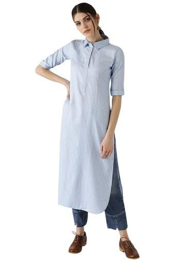 Womens Checks Cotton Pathani Kurta