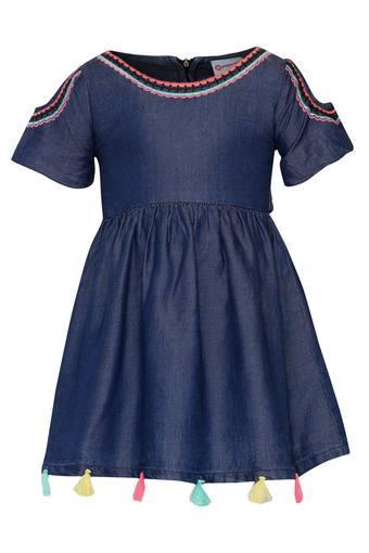 Girls Round Neck Assorted Flared Dress