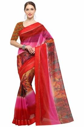 RACHNA Womens Art Silk Digital Printed Saree With Blouse - 204088368_7086