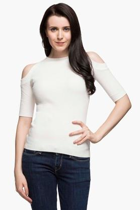 FEMINA FLAUNT Womens Round Neck Solid Sweater