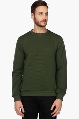 WROGNMens Round Neck Stripe Sweatshirt