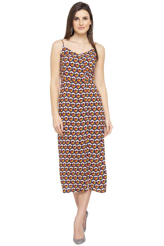 Womens Spaghetti Neck Printed Calf Length Dress