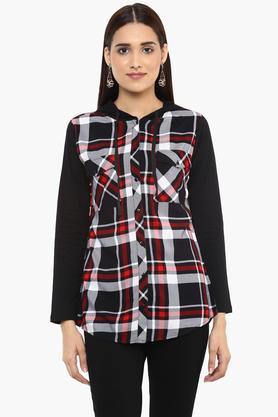 Womens Hooded Check Shirt
