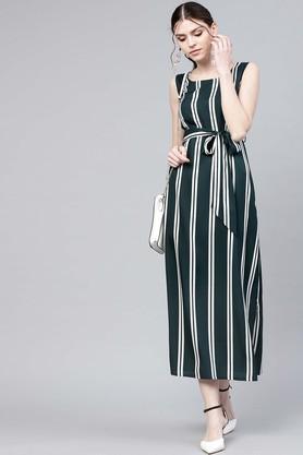 Womens Round Neck Striped Calf Length Dress