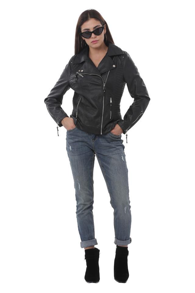Womens Solid Biker Jacket