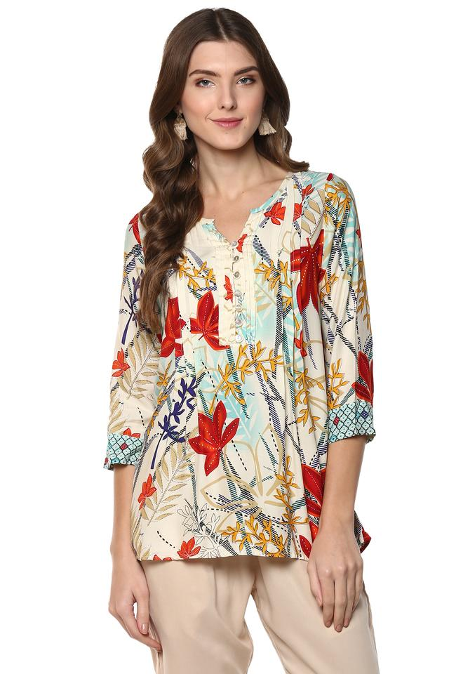 Womens Notched Collar Floral Print Tunic