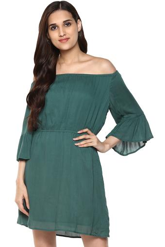 Womens Off Shoulder Solid Drop Waist Dress