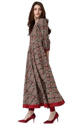 Womens Cotton Printed Anarakli Kurta